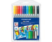 [奇奇文具] 【施德樓 STAEDTLER 彩色筆】施德樓STAEDTLER 320NWP12 快樂學園 雙頭水易洗彩色筆 12色