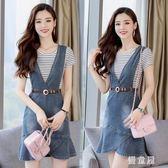 中大尺碼夏季牛仔洋裝女短袖韓版清新時尚背帶裙套裝顯瘦兩件式裝 QG5511『優童屋』