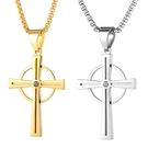 《 QBOX 》FASHION 飾品【C21N1950】精緻個性歐美宗教圓環十字架鈦鋼墬子項鍊/掛飾