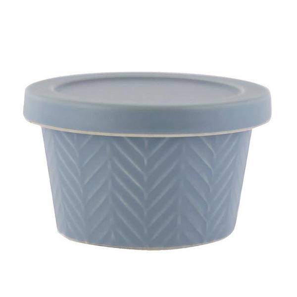日本 MEISTER HAND 人字醬菜缽(附蓋)-藍灰色