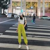 韓國運動褲子女2020新款薄款寬松休閑褲高腰束腳褲顯瘦百搭ins潮衛褲