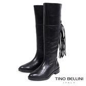 Tino Bellini 巴西嬉皮流蘇真皮舒適平底長筒靴(黑)_VI1207 2015AW 歐洲進口款