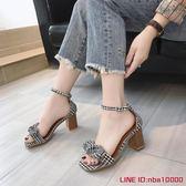 涼鞋女夏季新款韓版時尚百搭仙女風粗跟復古高跟一字扣羅馬鞋CY潮流站