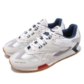 Reebok 復古慢跑鞋 CL Leather ATI 90s 米白 藍 皮革鞋面 大LOGO 運動鞋 男鞋【PUMP306】 DV5372