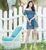 春夏↘7折[H2O]領口特種車可多穿連身短褲裙洋裝-深藍/粉/淺藍色 #8674009