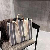 托特包-ins超火春夏季帆布包 2020新款韓國東大門條紋單肩大包托特手提包