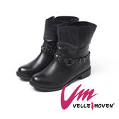 Velle Moven 短靴 MIT帥氣真皮鉚釘工程靴_個性黑
