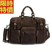 行李袋-肩背歐美復古多口袋大容量瘋馬皮男手提包66b19【巴黎精品】