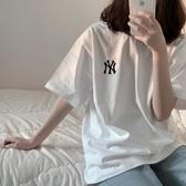 短袖T恤女2020年夏季新款韓版寬鬆港風簡約學生半袖體恤上衣INS潮 蘑菇街小屋