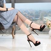 歐美風超高跟細跟女涼鞋防水台中空時尚性感露趾恨天高女鞋夏 格蘭小舖