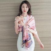 夏季防曬披肩絲巾女百搭長款圍巾韓版新款超