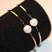 玫瑰金純銀手鍊 珍珠-高貴氣質生日聖誕節禮物女手環 2色73bx18【巴黎精品】