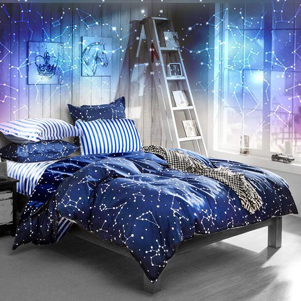 床包組-單人[湛藍海洋系列-流星雨]含1件枕套-雪紡絲磨加工處理Artis台灣製