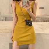 洋裝 2020夏季新款氣質性感吊帶連衣裙女修身顯瘦包臀輕熟風針織背心裙 歐歐