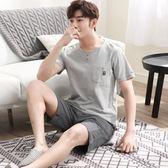 睡衣男士夏季純棉短袖套裝青年全棉半袖寬鬆夏天休閒可外穿家居服