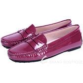 TOD'S 經典漆皮豆豆樂褔鞋(紫紅色/女鞋) 1430567-87