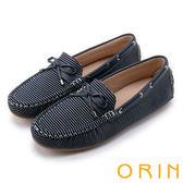 ORIN 樂活度假 個性條紋平底帆船鞋-藍色