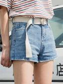 牛仔短褲 夏季休閑淺色原宿闊腿牛仔短褲女寬松