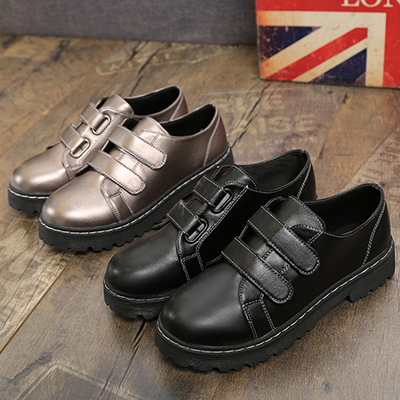 任選2雙788休閒鞋皮質素色雙一字帶魔鬼氈黏帶低跟粗跟包鞋休閒鞋皮鞋女鞋【02S6100】