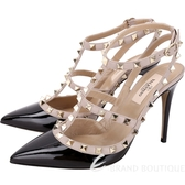 VALENTINO Rockstud 鉚釘漆皮繫帶高跟鞋(黑色) 1430356-01