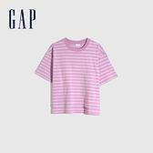 Gap男女同款 厚磅密織系列 純棉質感厚磅圓領短袖T恤 629536-紫色條紋