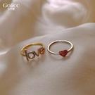 戒指 古里雅設計師款LOVE愛心彩鉆女日韓輕奢食指指環個性網紅 - 歐美韓