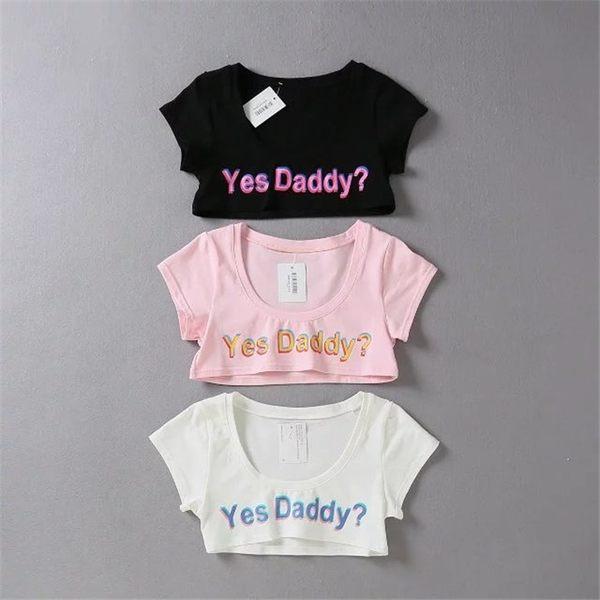 T恤 歐美 yes daddy 可愛性感字母露胸半乳超短T恤少女棉質
