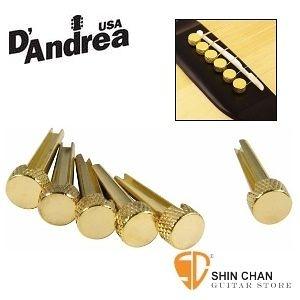 D'Andrea 美國黃銅製 Tone Pins Brass 金色吉他弦銓(聲音加強顆粒/清淅度) 弦釘/Pin