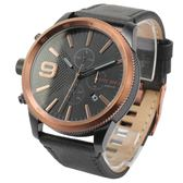 DIESEL Rasp玫瑰金反轉錶冠三眼皮革腕錶50mm(DZ4445)270102