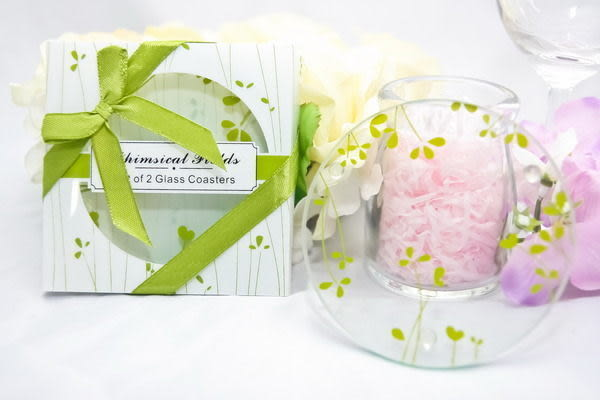 圓形綠色小花杯墊(兩入裝) 婚禮小物 送客小禮 婚禮佈置/組