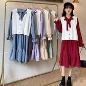 秋季法式復古氣質連身裙女小個子顯瘦收腰長袖裙子【小酒窩服飾】