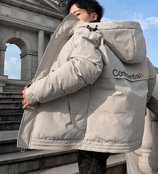 羽絨服男 棉衣男士春季新款加厚羽絨棉服潮流連帽工裝外套保暖面包棉襖【快速出貨八折搶購】