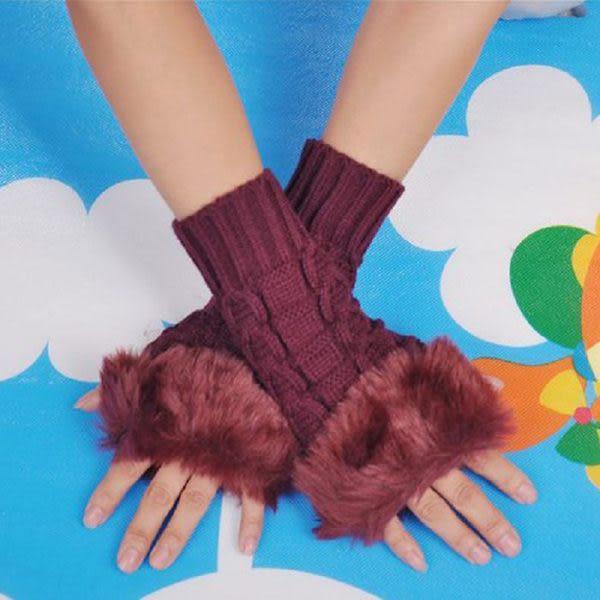 韓國仿兔毛露指鍵盤保暖手套/毛線針織袖套--棗紅色(43326)【魔小物】「現貨4」