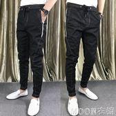 秋季社會精神小伙小腳褲新款修身韓版彈力鉛筆褲純色牛仔褲潮    MOON衣櫥