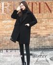 秋冬新款正韓寬鬆顯瘦黑色呢子大衣中長款毛呢外套女