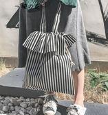 帆布包 chic帆布包女新款單肩包韓國ulzzang日系學生原宿條紋小清新布袋  蒂小屋服飾