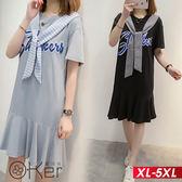 學院風短袖連衣裙 XL-5XL O-ker歐珂兒 166030
