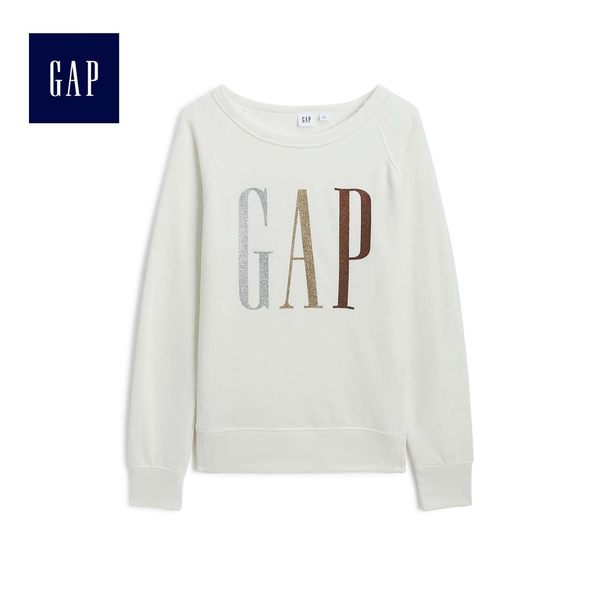 Gap女裝 Logo圓領長袖套頭休閒上衣 499691-雪花白色