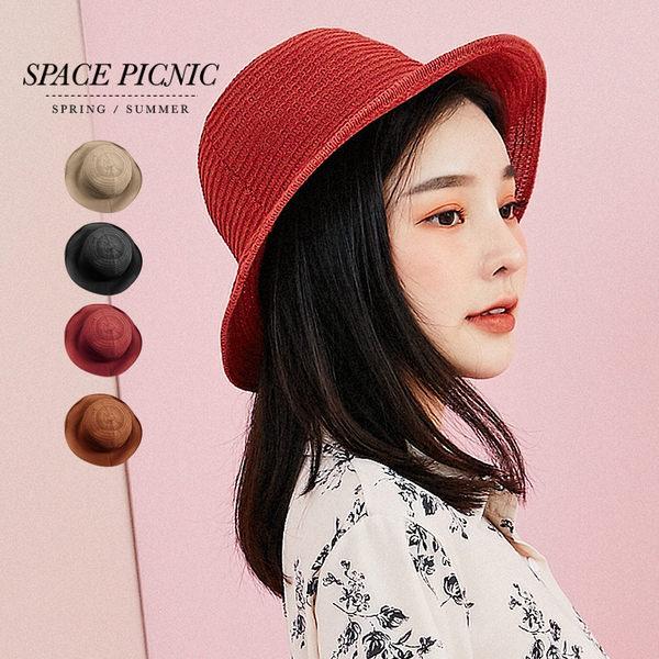 遮陽帽 Space Picnic|現+預.素面編織遮陽帽【C19032000】