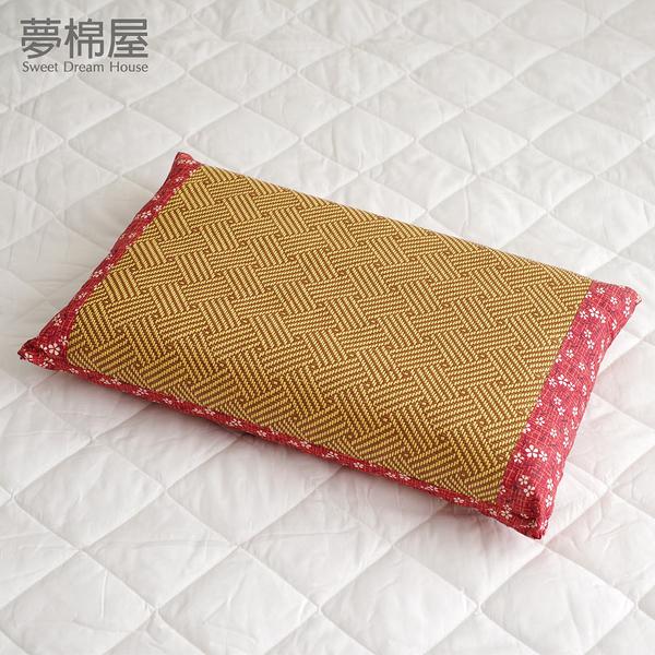 台灣製造-天然健康亞藤織面淹水石枕頭一入-紅-夢棉屋
