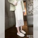 法式氣質淑女范鉤花鏤空蕾絲半身裙女2020中長款過膝內搭打底裙