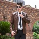 斷碼皮衣男 修身韓版男士皮衣2020新款 帥氣薄款海寧中年西服外套 蘿莉小腳丫