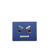【FENDI】表情圖案 牛皮+不銹鋼 信用卡夾/名片(靛藍色) 7M0234 SL9 F0R49