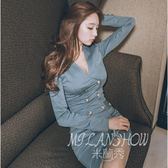 洋裝 韓版職業OL氣質名媛性感V領修身顯瘦包臀連身裙 米蘭shoe