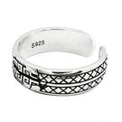 《 QBOX 》FASHION 飾品【RF213】精緻個性復古斑駁幾何格紋設計S925純銀/泰銀開口戒指