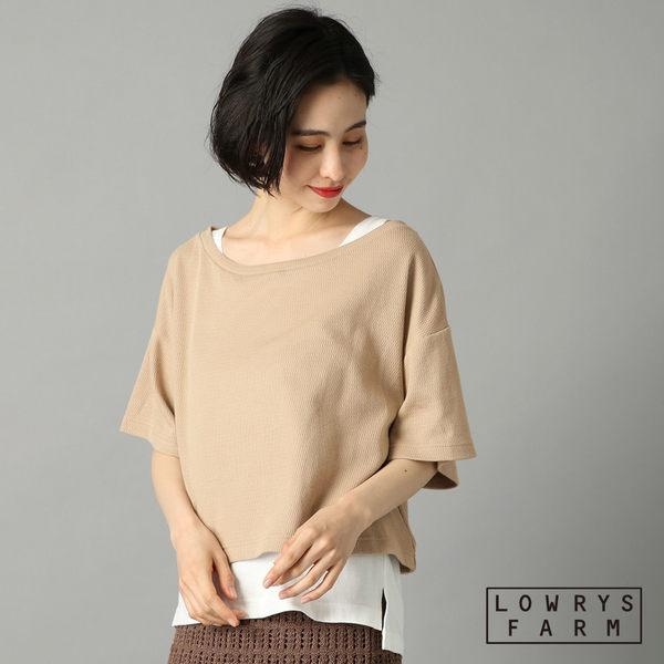 LOWRYS FARM素色大圓領織紋兩件式棉質短袖上衣-三色