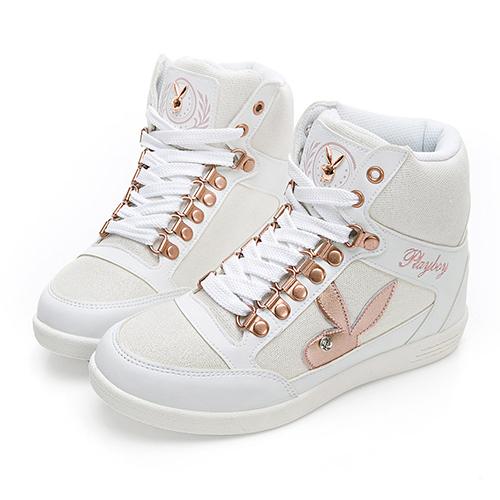 PLAYBOY 璀璨亮蔥內增高休閒鞋-白