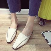 包頭半拖鞋女夏外穿新款百搭歐洲站復古方頭穆勒鞋平底鞋涼拖