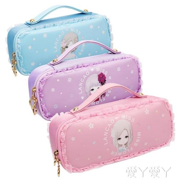 筆盒筆袋女文具盒防水筆袋防臟耐臟女生小學生蕾絲公主小仙女花語姑娘卡 愛丫