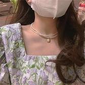 項鏈女復古宮廷風雙層珍珠頸鏈時尚鏈子飾品【極簡生活】